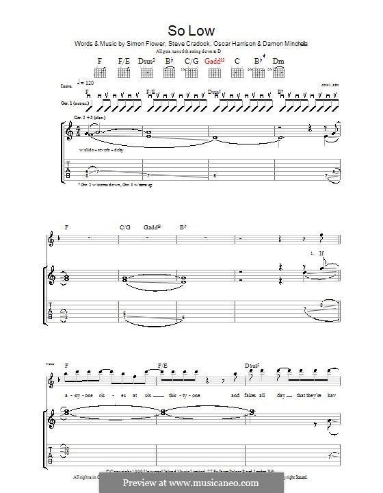 So Low (Ocean Colour Scene): Гитарная табулатура by Damon Minchella, Oscar Harrison, Simon Fowler, Steve Cradock