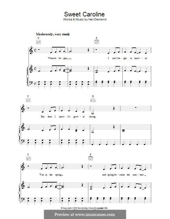 Sweet Caroline: Для голоса и фортепиано (или гитары) by Neil Diamond