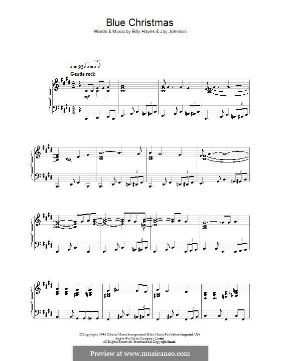 Blue Christmas, for Piano: Для одного исполнителя by Billy Hayes, Jay Johnson