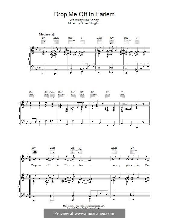 Drop Me Off in Harlem: Для голоса и фортепиано (или гитары) by Duke Ellington