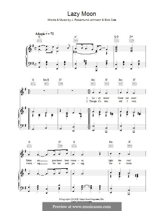 Lazy Moon: Для голоса и фортепиано (или гитары) by Bob Cole, J. Rosamond Johnson