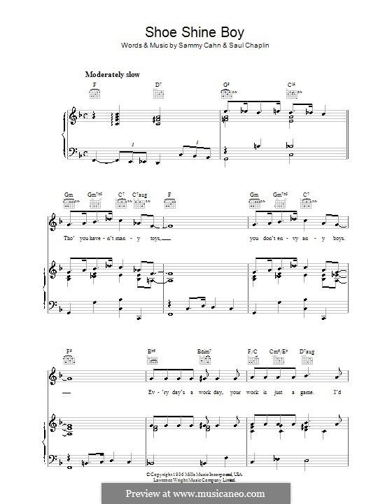 Shoe Shine Boy (Louis Armstrong): Для голоса и фортепиано (или гитары) by Sammy Cahn, Saul Chaplin