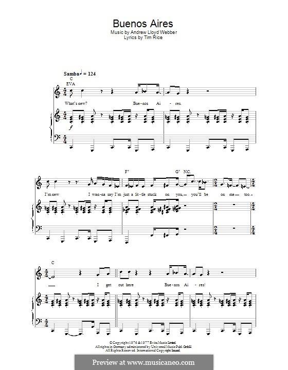 Buenos Aires: Для голоса и фортепиано или гитары (до мажор) by Andrew Lloyd Webber