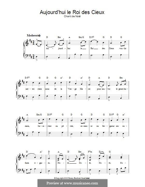 Aujourd'hui le roi des cieux: Для голоса и фортепиано by folklore