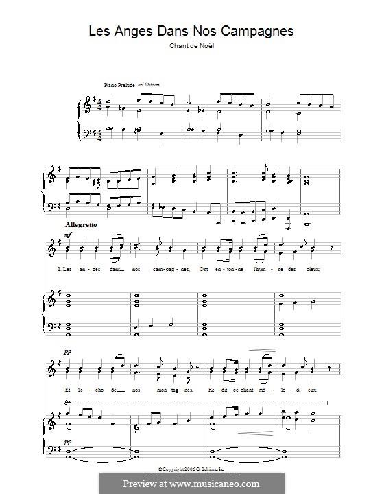 Les anges dans nos campagnes: Для голоса и фортепиано by folklore