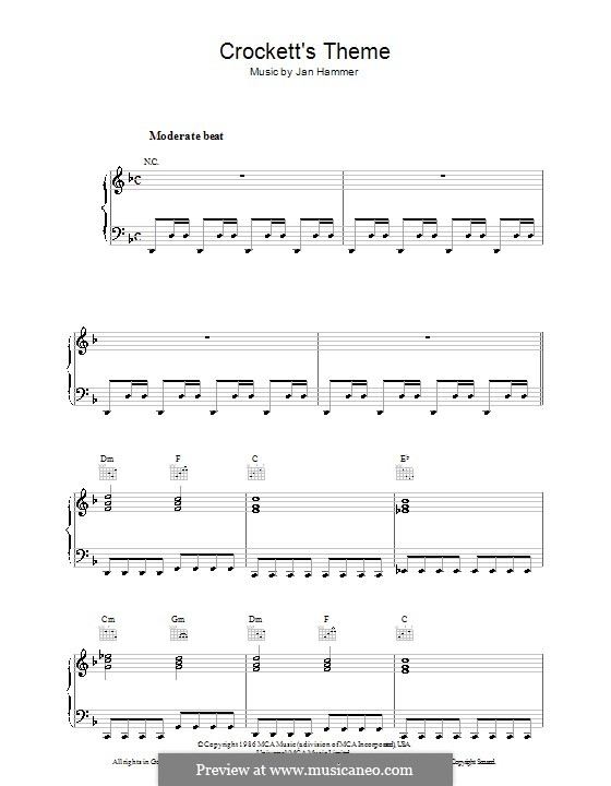 Crockett's Theme (from Miami Vice): Для фортепиано by Jan Hammer