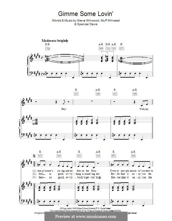 Gimme Some Lovin' (The Spencer Davis Group): Для голоса и фортепиано (или гитары) by Muff Winwood, Spencer Davis, Steve Winwood