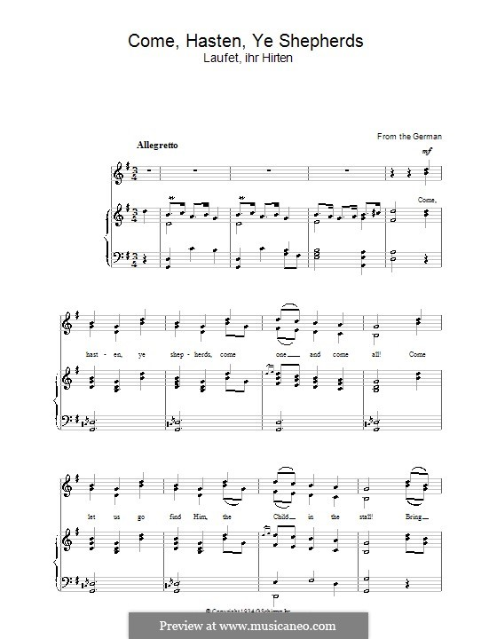 Come Hasten Ye Shepherds: Для голоса и фортепиано by folklore