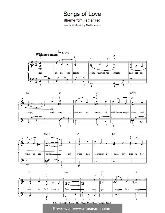 Songs of Love (The Divine Comedy): Для фортепиано (легкий уровень) by Neil Hannon