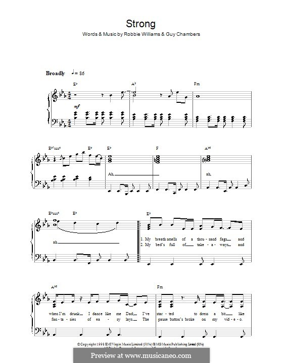 Strong: Для фортепиано (легкий уровень) by Guy Chambers, Robbie Williams