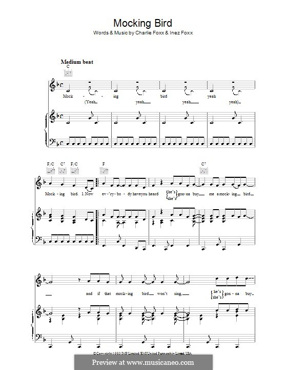Mocking Bird (Aretha Franklin): Для голоса и фортепиано (или гитары) by Charlie Foxx, Inez Foxx