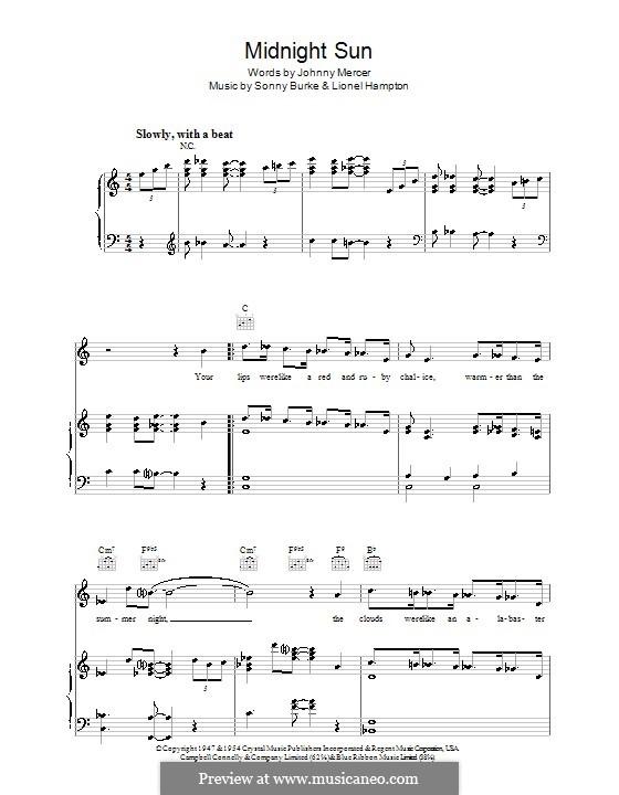 Midnight Sun: Для голоса и фортепиано (или гитары) by Johnny Mercer, Lionel Hampton, Sonny Burke