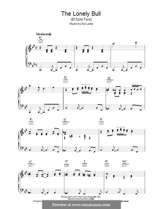 The Lonely Bull (Herb Alpert & The Tijuana Brass Band): Для голоса и фортепиано (или гитары) by Sol Lake