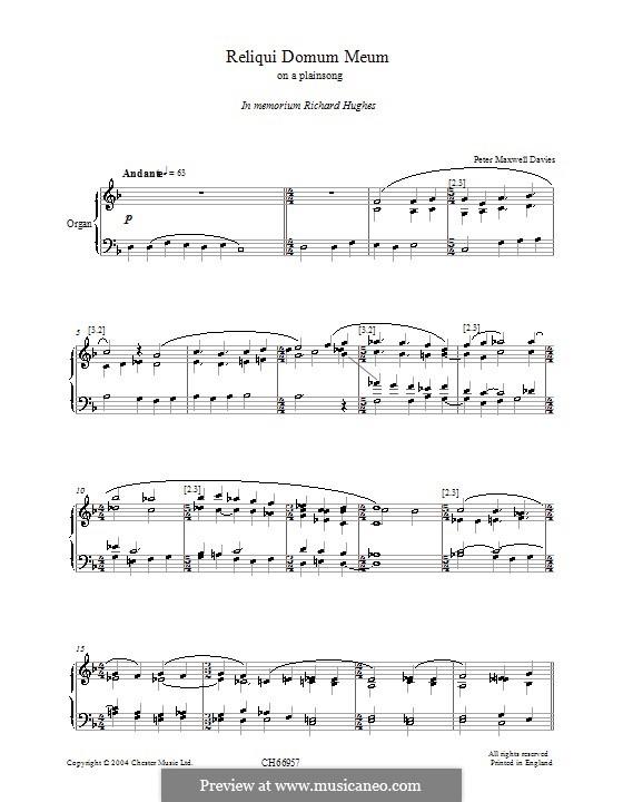 Reliqui Domum Meum: Для органа by Peter Maxwell Davies