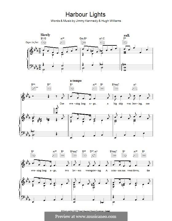 Harbor Lights (The Platters): Для голоса и фортепиано (или гитары) by Hugh Williams, Jimmy Kennedy