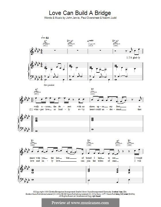 Love Can Build a Bridge: Для голоса и фортепиано или гитары (Westlife) by John Jarvis, Naomi Judd, Paul Overstreet