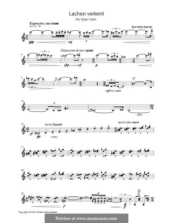 Lachen Verlernt for Solo Violin: Lachen Verlernt for Solo Violin by Esa-Pekka Salonen