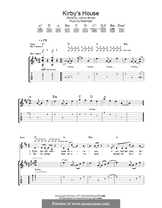 Kirby's House (Razorlight): Гитарная табулатура by Johnny Borrell