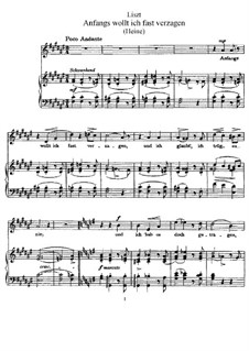Anfangs wollt' ich fast verzagen, S.311: Klavierauszug mit Singstimmen by Франц Лист