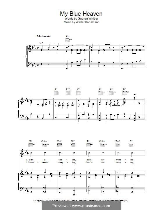 My Blue Heaven: Для голоса и фортепиано (или гитары) by Уолтер Дональдсон