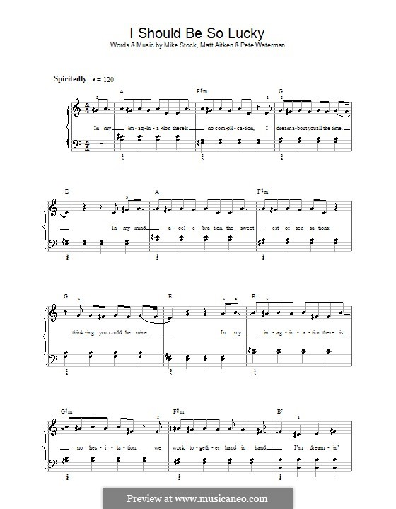 I Should Be So Lucky (Kylie Minogue): Для начинающего пианиста by Matt Aitken, Mike Stock, Pete Waterman