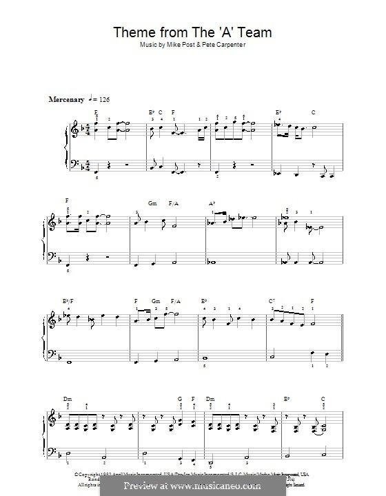 Theme from The 'A' Team: Для фортепиано (легкий уровень) by Pete Carpenter