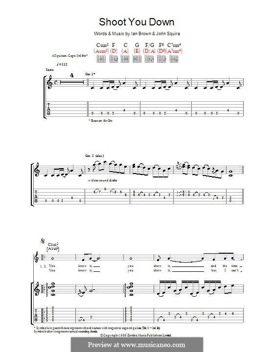 Shoot You Down (The Stone Roses): Гитарная табулатура by Ian Brown, John Squire
