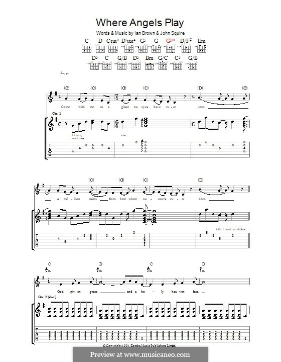 Where Angels Play (The Stone Roses): Гитарная табулатура by Ian Brown, John Squire