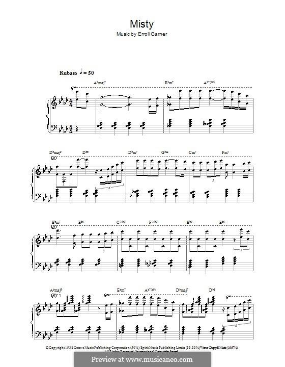 Misty (Johnny Mathis): Для фортепиано by Erroll Garner