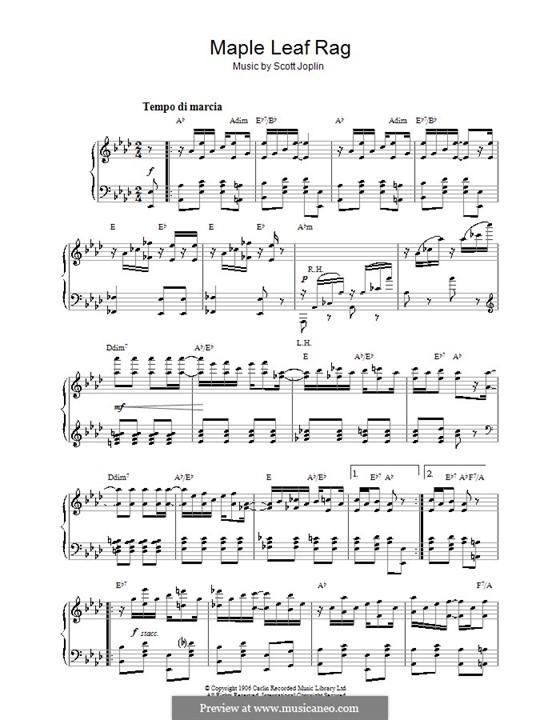 Maple Leaf Rag (Printable Scores): Для фортепиано (с аккордами) by Скотт Джоплин