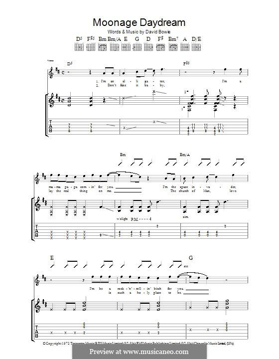 Moonage Daydream: Гитарная табулатура by David Bowie