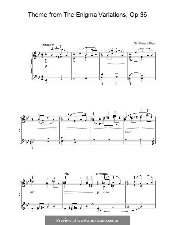 Фрагменты: Тема, для начинающего пианиста by Эдуард Элгар