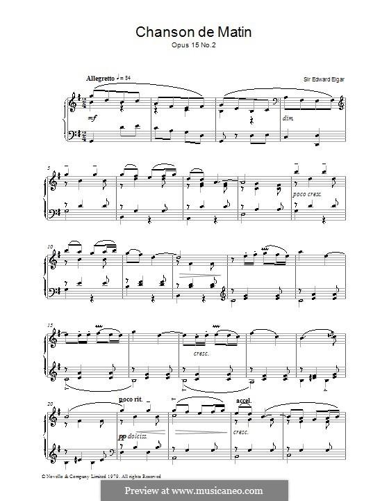 Две пьесы, Op.15: No.2 Chanson de matin, for piano (high quality sheet music) by Эдуард Элгар