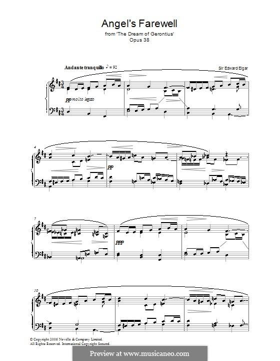 Сон Геронтия, Op.38: Angel's Farewell, for piano by Эдуард Элгар
