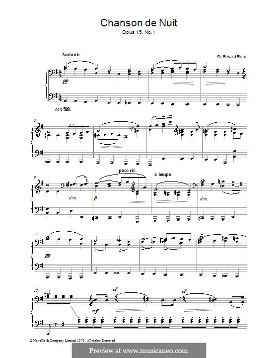 Две пьесы, Op.15: No.1 Chanson de nuit, for piano by Эдуард Элгар
