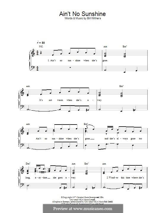 Ain't No Sunshine: Для начинающего пианиста by Bill Withers