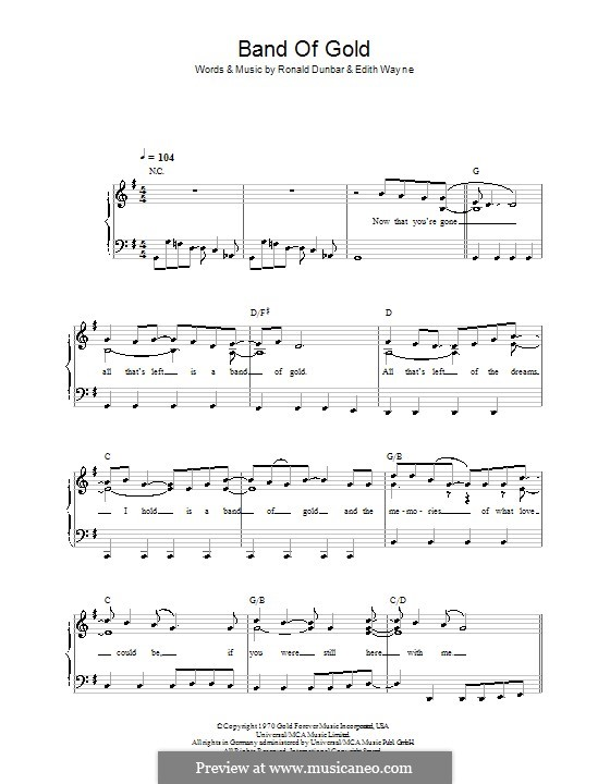 Band of Gold (Freda Payne): Для фортепиано (легкий уровень) by Edith Wayne, Ronald Dunbar