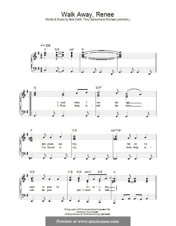 Walk Away, Renee: Для фортепиано (легкий уровень) by Bob Calilli, Michael Brown, Tony Sansone