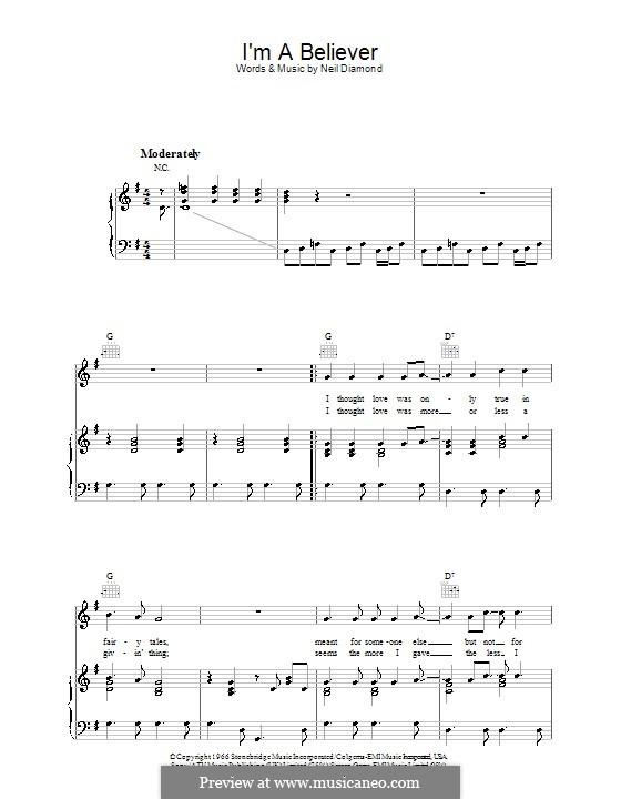 I'm a Believer: Для голоса и фортепиано или гитары (соль мажор) by Neil Diamond
