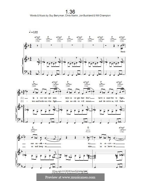 1.36 (Coldplay): Для голоса и фортепиано или гитары by Chris Martin, Guy Berryman, Jonny Buckland, Will Champion