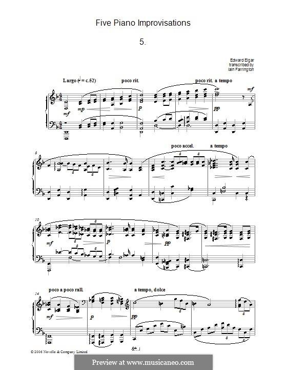 Пять фортепианных импровизаций: No.5 Largo by Эдуард Элгар