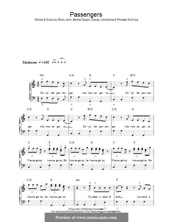 Passengers: Для фортепиано (легкий уровень) by Davey Johnstone, Elton John, Phineas McHize