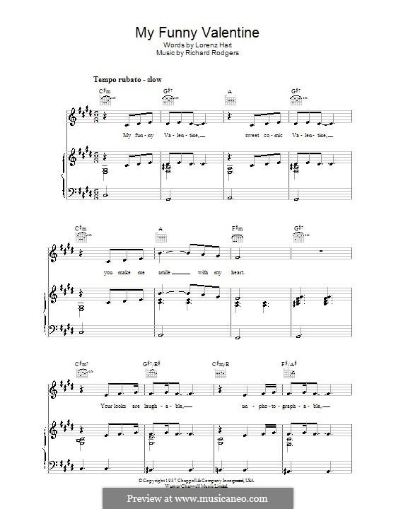 My Funny Valentine: Для голоса и фортепиано или гитары (C Sharp Minor) by Richard Rodgers