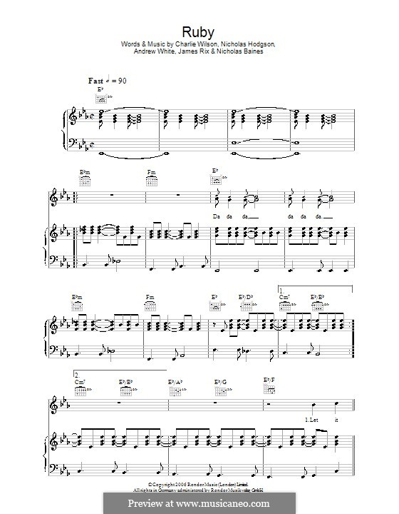 Ruby (Kaiser Chiefs): Для голоса и фортепиано (или гитары) by Andrew White, James Rix, Nicholas Baines, Nicholas Hodgson, Charles Wilson