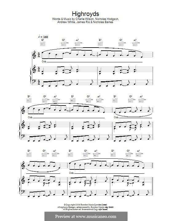 Highroyds (Kaiser Chiefs): Для голоса и фортепиано (или гитары) by Andrew White, James Rix, Nicholas Baines, Nicholas Hodgson, Charles Wilson