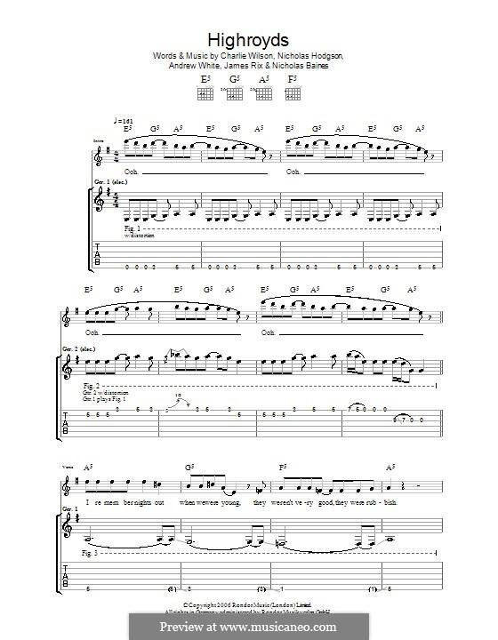 Highroyds (Kaiser Chiefs): Для гитары с табулатурой by Andrew White, James Rix, Nicholas Baines, Nicholas Hodgson, Charles Wilson