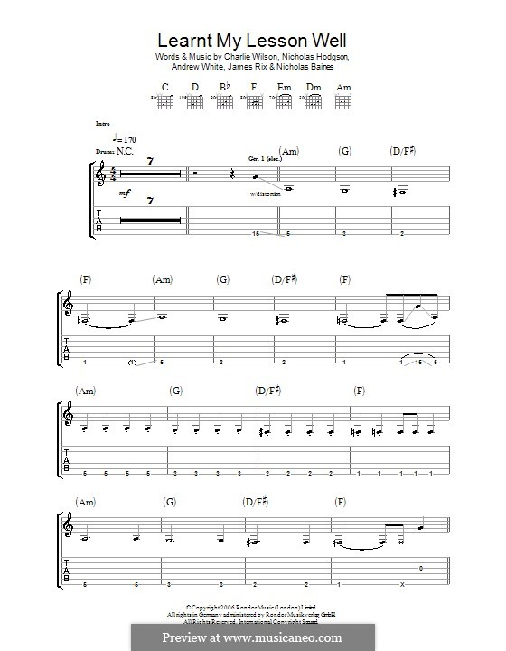 Learnt My Lesson Well (Kaiser Chiefs): Для гитары с табулатурой by Andrew White, James Rix, Nicholas Baines, Nicholas Hodgson, Charles Wilson
