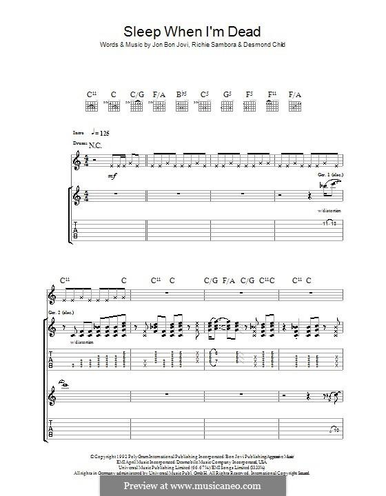 I'll Sleep When I'm Dead (Bon Jovi): Гитарная табулатура by Desmond Child, Jon Bon Jovi, Richie Sambora