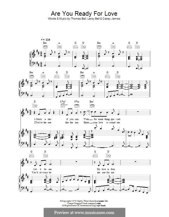 Are You Ready for Love (Elton John): Для голоса и фортепиано (или гитары) by Casey James, Leroy Bell, Thomas Bell