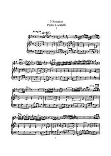 Три сонаты для скрипки и клавесина: Партитура by Пьетро Локателли